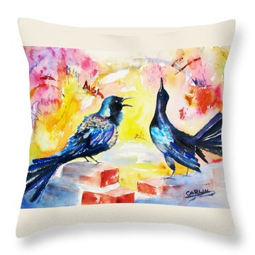 Grackles And Graffiti  Throw Pillow