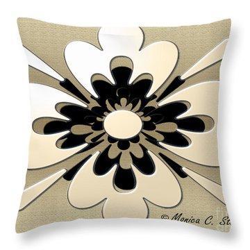 Gradient Cream On Gold Floral Design Throw Pillow