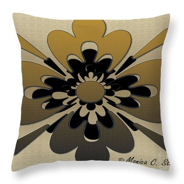Gradient Dark Yellow On Gold Floral Design Throw Pillow