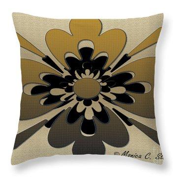 Gradient Dark Yellow On Gold Floral Design Throw Pillow