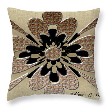 Gradient Motley On Gold Floral Design Throw Pillow