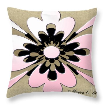 Gradient Pink On Gold Floral Design Throw Pillow