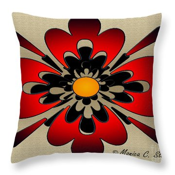 Gradient Red With Gradient Black On Gold Floral Design Throw Pillow