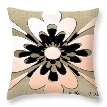 Gradient Salmon On Gold Floral Design Throw Pillow