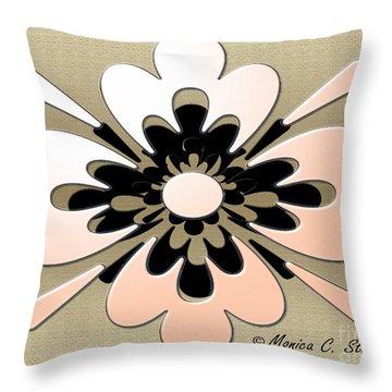 Gradient Salmon On Gold Floral Design Throw Pillow