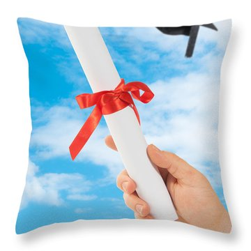 Graduation Scoll And Cap Throw Pillow by Amanda Elwell