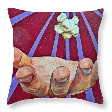 Graffiti Art - The Hand Throw Pillow by Christine Till