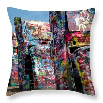 Graffiti At The Cadillac Ranch Amarillo Texas Throw Pillow
