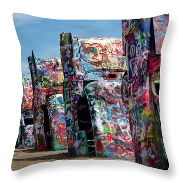 Throw Pillow featuring the photograph Graffiti At The Cadillac Ranch Amarillo Texas by Mary Lee Dereske