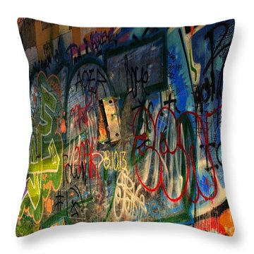Graffiti Blues Throw Pillow