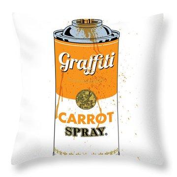Graffiti Carrot Spray Can Throw Pillow
