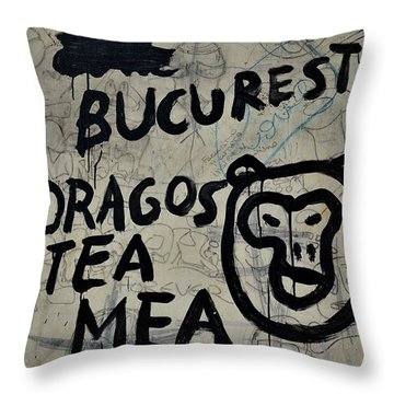 Throw Pillow featuring the photograph Graffiti On Street From Bucharest Romania by Imran Ahmed
