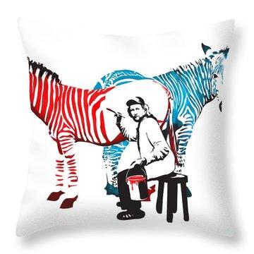 Graffiti Print Of Rembrandt Painting Stripes Zebra Painter Throw Pillow