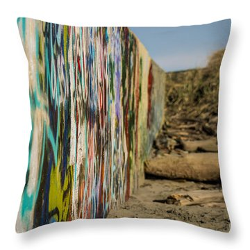 Graffiti Wall Throw Pillow by Arlene Sundby