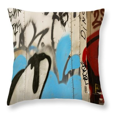 Throw Pillow featuring the photograph Graffiti Writing Nyc #2 by Ann Murphy