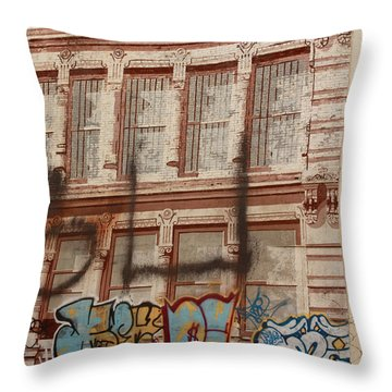 Throw Pillow featuring the photograph Graffiti Writing Nyc by Ann Murphy