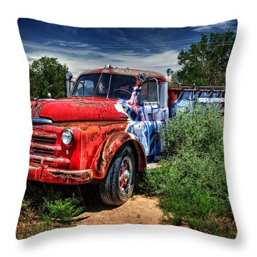 Throw Pillow featuring the photograph Grafitti Fire Truck by Ken Smith