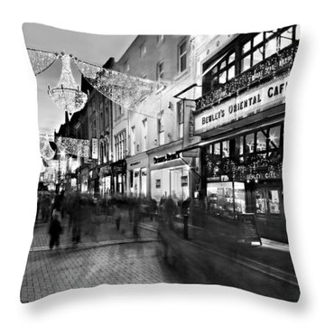 Throw Pillow featuring the photograph Grafton Street At Night / Dublin by Barry O Carroll