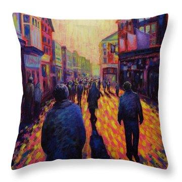 Grafton Street Dublin Throw Pillow by John  Nolan