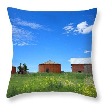 Throw Pillow featuring the photograph Grain Bins by Jim Sauchyn