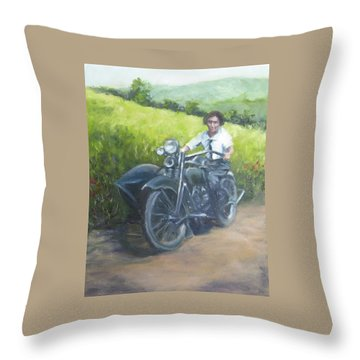 Gramma And The Harley Throw Pillow by Connie Schaertl