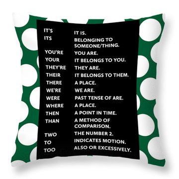 Throw Pillow featuring the digital art Grammar Rules by Nancy Ingersoll