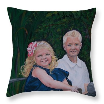 Throw Pillow featuring the painting Grampa And Gramma's Joy  by Sharon Duguay