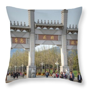 Grand Buddha Gates Throw Pillow