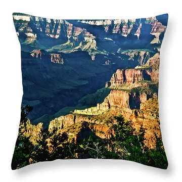 Throw Pillow featuring the photograph Grand Canyon  Golden Hour On Angel Point by Bob and Nadine Johnston