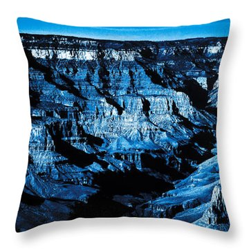 Grand Canyon In Blue Throw Pillow by Bartz Johnson