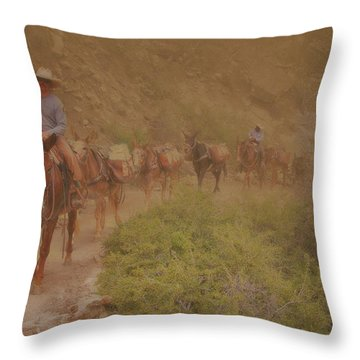 Throw Pillow featuring the photograph Grand Canyon Mule Train by Tom Singleton