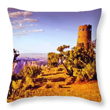 Throw Pillow featuring the painting Grand Canyon National Park Golden Hour Watchtower by Bob and Nadine Johnston