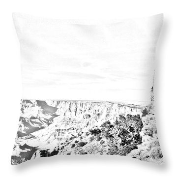 Grand Canyon National Park Mary Colter Designed Desert View Watchtower Black And White Line Art Throw Pillow by Shawn O'Brien