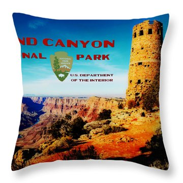 Grand Canyon National Park Poster Desert View Watchtower Retro Future Throw Pillow by Shawn O'Brien
