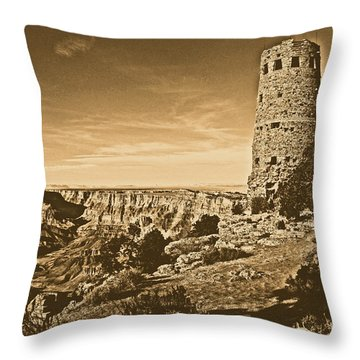 Grand Canyon National Park South Rim Mary Colter Designed Desert View Watchtower Rustic Throw Pillow by Shawn O'Brien