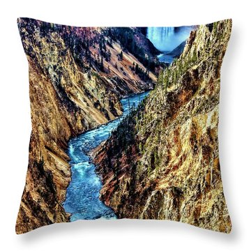Throw Pillow featuring the photograph Grand Canyon Of The Yellowstone by Benjamin Yeager