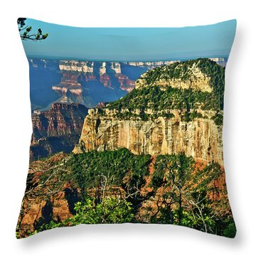 Throw Pillow featuring the photograph Grand Canyon Peak Angel Point by Bob and Nadine Johnston