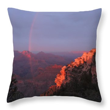Throw Pillow featuring the photograph Grand Canyon Rainbow by Jayne Wilson