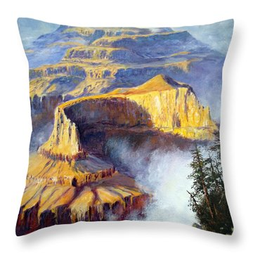 Throw Pillow featuring the painting Grand Canyon View by Lee Piper