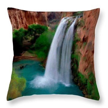 Throw Pillow featuring the painting Grand Canyon Waterfalls by Bruce Nutting