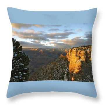 Grand Canyon. Winter Sunset Throw Pillow by Ben and Raisa Gertsberg