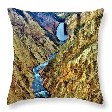 Throw Pillow featuring the photograph Grand Cayon Of The Yellowstone River by Benjamin Yeager