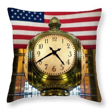 Grand Central Clock Throw Pillow by Brian Jannsen
