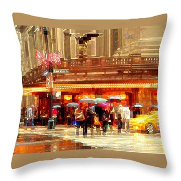 Grand Central Station In The Rain - New York Throw Pillow by Miriam Danar
