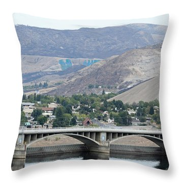 Throw Pillow featuring the photograph Grand Coulee Dam And Coulee City by E Faithe Lester