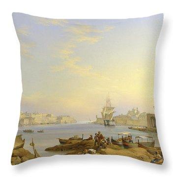 Grand Harbour, Valletta, Malta, 1850 Throw Pillow