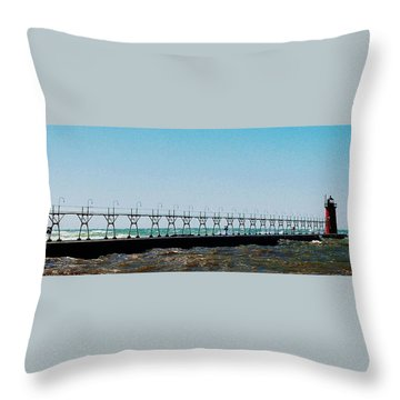 Throw Pillow featuring the photograph Grand Haven Light by Daniel Thompson