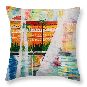 Grand Hotel  In Gardone Riviera In Sunlight Throw Pillow by M Bleichner