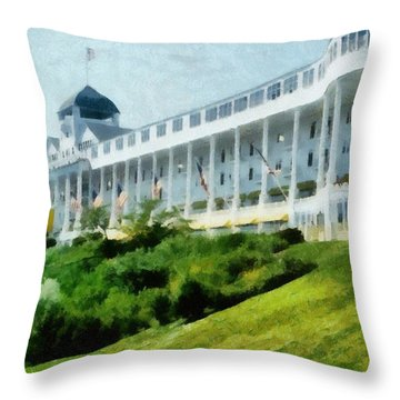 Grand Hotel Mackinac Island Ll Throw Pillow by Michelle Calkins