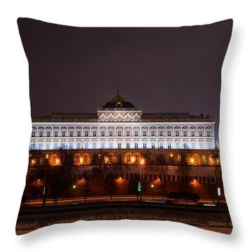 Grand Kremlin Palace At Night Throw Pillow by Alexander Senin
